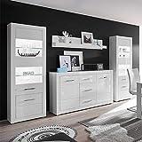 Pharao24 Anbauwand in Weiß Hochglanz und Beton Grau Sideboard Ohne Beleuchtung Energieeffizienzklasse