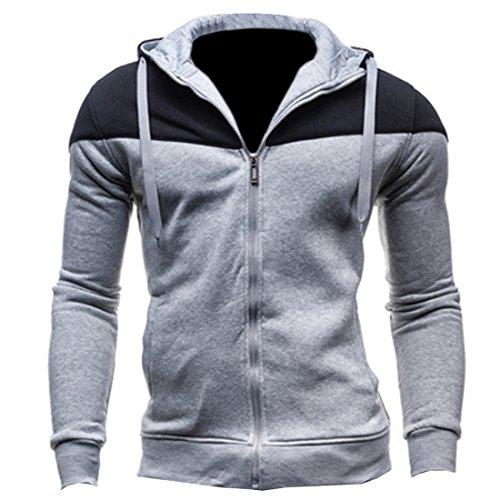 Partiss Casual Veste à capuche pour homme Lightgrey+black