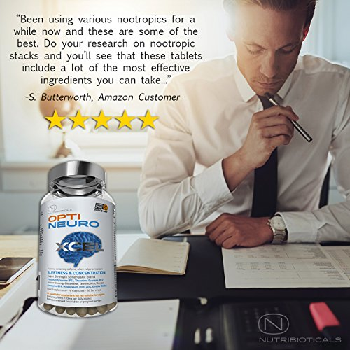 NEW Optineuro® Xcel for Increased Focus, Concentration + Memory | #1 Top Rated Nootropics | STRONGEST Formula on the Market 6073mg ACTIVE | Recommended for Advanced Supplement Users | 90 Capsules
