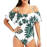 Amlaiworld sommer bunt Blätter und blumen druck Bikinis band Tropischer Stil bademode strand elegant damen badeanzüge Schwimmen Ananas sport Beachwear (L, A)
