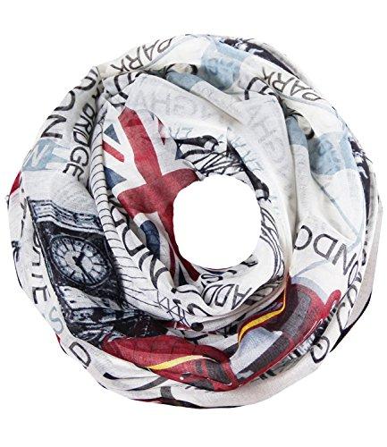 caripe Loop-Schal Städte-Print Paris London New York Berlin Schlauchschal Damen Herren Halstuch Mode-Accessoire Geschenk – sh2 (seightseeing - England London