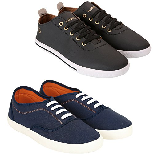 Globalite Men Casual Shoe Sneaker Combo Pack; Code GSC1107_1250; Color Navy/White Size:...
