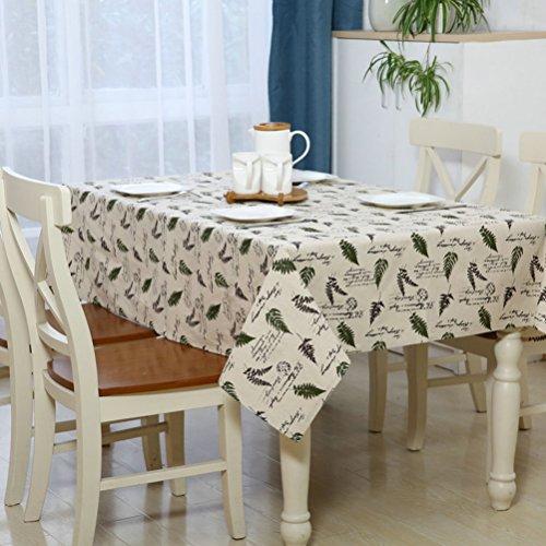 eazyhurry Baumwolle Leinen Leaf Flower Print Square Tischdecke Schreibtisch Tisch Cover für Home Dekoration Tisch Reinigungstuch für Abendessen waschbar, Green Leaf, 55