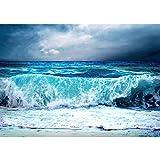 Vlies Fototapete PREMIUM PLUS Wand Foto Tapete Wand Bild Vliestapete - BLUE SEASCAPE - Ozean Meer Wasser See Welle Sturm Blau Türkis - no. 100, Größe:300x210cm Vlies