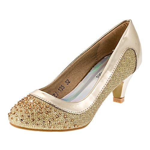 Festliche Mädchen Pumps Ballerina Schuhe Absatz Glitzer in Vielen Farben M149go Gold 34