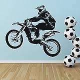Dirt Bike Jump Wandaufkleber Motorradsport Wandtattoo Jungen Schlafzimmer Wohnkultur verfügbar in 5 Größen und 25 Farben Mittel Schwarz