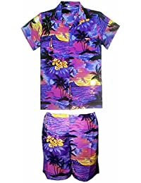 SAITARK Mens Hawaiian Shirt Stag Beach Hawaii Aloha Party Summer Holiday Fancy Purple Beach Palm Shirt and Short Set