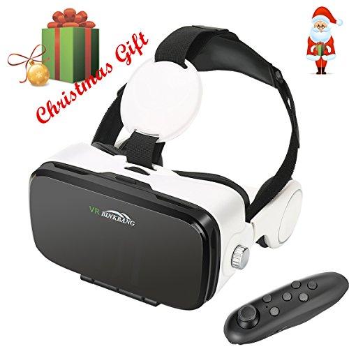 Occhiali 3D VR , MENGGOOD Visori Realtà Virtuale Occhiali 3D VR + Telecomando Bluetooth Headset Virtual Reality Glasses Occhiali Virtuali Compatibile con iPhone Android Smartphones da 4 a 6 pollici per Giochi Film