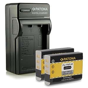 Bundle - 4in1 Caricabatteria + 2x Batteria NP-95 NP95 per Fuji Fujifilm FinePix F30 | F-30 | F31 | F-31 | F31fd | F-31fd | X100 | X100s | X-S1 | FinePix Real 3D W1 e più… [ Li-ion; 1600mah; 3.7V ]