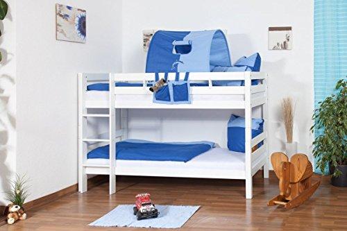 weißes Stockbett - Buche massiv 90x200 cm, teilbar auf 2 Betten