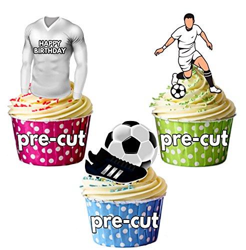 AK Giftshop vorgeschnittenen Happy Birthday Fußball Party Pack-Essbare Cupcake Topper/Kuchen Dekorationen Edinburgh City Farben (12Stück)