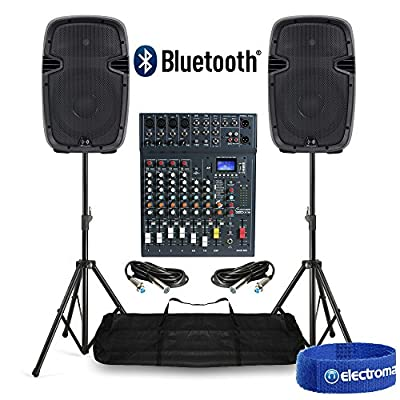 PA Sound System with Active Speakers, Mixer & Stands 800W Bluetooth USB DJ Disco
