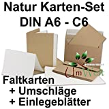 50 x Kraftpapier-Falt-Karten-Set DIN C6 /A6, Doppel-Klapp-karten + Einlegeblätter in creme mit Umschläge C6, Vintage-Naturpapier - braun