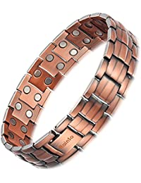 Rainso Mens Doule Row Copper Magnetic Therapy Bracelet for Arthritis Pain Relief