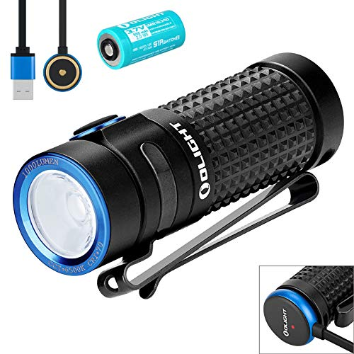 Olight S1R Baton II Mini Taschenlampe 1000 Lumen Kaltes Weiß LED Kompakt Taschenlampe USB Magnetische Wiederaufladbare EDC Kleine Taschenlampe, mit wiederaufladbare Akku Batterie + Batteriefach