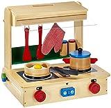 Kinderküche aus Holz, inkl. Zubehör (Pfanne, Schnellkochtopf, zwei Holzdosen mit Deckel, zwei Küchenhelfer, ein Spiegelei und Topflappen), mit integriertem Holzkoffer für einen einfachen Transport oder Kochspaß für unterwegs, ab 3 Jahre