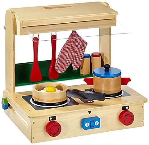 Kinderküche aus Holz, samt reichhaltigem Zubehör, ab 3 Jahren, mit integriertem Koffer