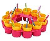 Unbekannt Zahnputzträger, Zahnreinigung, Zähne, mit 11 Bechern, für Kindergarten, zu Hause, UVM. - Kinderzahnbürste bunt Design Milchzahn Zähne putzen Ausstattung Kinderkrippe Lernen Zahnputzset