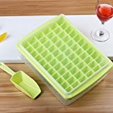 HOKIPO® 66 Cubes Plastic Ice Tray For Fridge With Storage Box + Spoon + Transparent Cover Lid (Green)