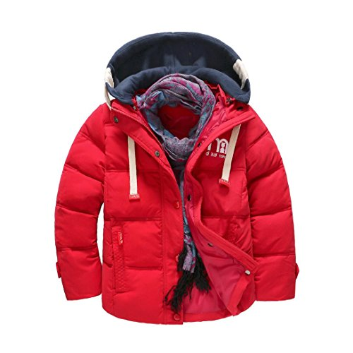 Sannysis Babykleidung Winter Boy Kinder Warme Mantel Baumwolle Kinder Winddicht Abnehmbare Kappen Jacken 4-9Jahre (120, Rot) (Grün-reversibel-t-shirt)