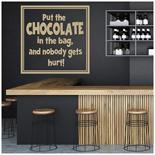 Azutura mettere il cioccolato nel borsa citazioni alimentari e slogan adesivi murali cucina decalcomanie disponibile in 5 dimensioni e 25 colori medio moss verde