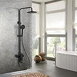 MMYNL Badarmaturen thermostatische Dusche Set Badewanne & Dusche Systeme Schwarz Matt Farbe Kupfer Drei Funktion an der Wand montierten Düse + Dusche Set Duscharmaturen
