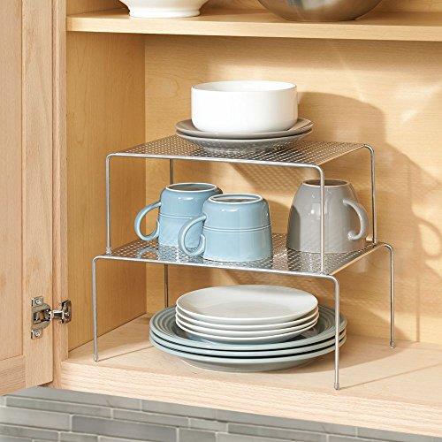 mDesign Porta piatti e Porta stoviglie allungabile – Scaffale cucina salvaspazio – Ideale per ottimizzare gli spazi e sfruttare ogni centimetro – argento - 3