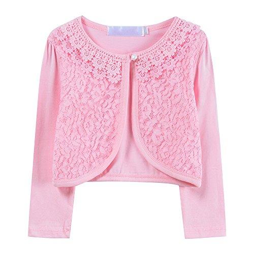 Ourlove Fashion Girls' Long Sleeve Lace Bolero Cotton Cardigan Shrug For Dance Dress Up (2-3 Years, Pink)