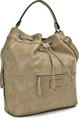MIYA BLOOM, Damen Handtaschen, Shopper, Schultertaschen, Umhängetaschen, Beuteltasche, Hobo Bucket Bag, 37 x 31 x 17,5 cm (B x H x T), Farbe:Anthrazit Sand