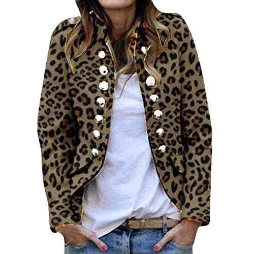 FRAUIT Mujer Trajes Blazer Estampado de Leopardo Solapa Chaqueta de Traje Negocios Oficina Primavera Invierno Manga Larga Traje Cardigan con Doble Botonadura Casual Elegante Blazer