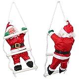 [lux.pro] Weihnachtsmann auf Leiter (32-25cm) Weihnachts Deko Weihnachten Figur Nikolaus