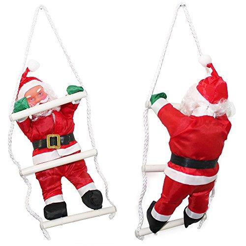 Babbo Natale sulla scala 32cm Decorazione con Babbo Natale Personaggio natalizio Santa Claus