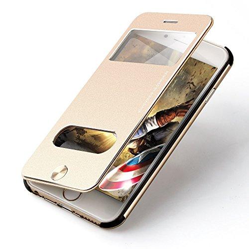 OATS Aluminium Schutzhülle für Apple iPhone 6, 6s - Sichtfenster Anrufe schnell Annehmen - Hülle Hard Cover Flip Back Case Tasche - Schwarz Schwarz