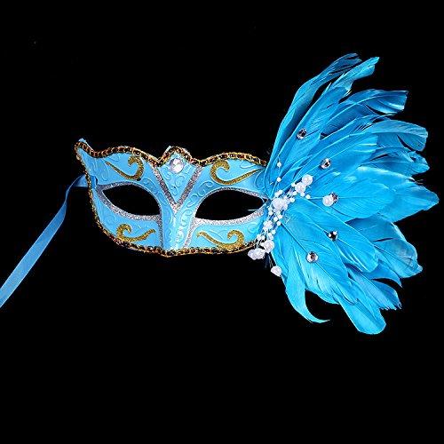 edermaske,Blau,20 * 25 (Blauen Feder Kostüme Maske)