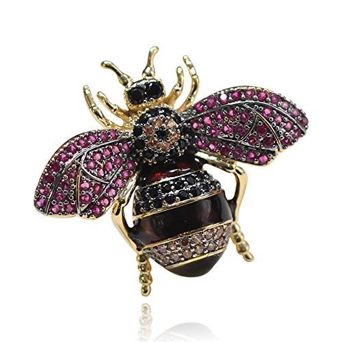 WANZIJING Schottische Brosche, zierliche Biene Brosche Perle Kristall Insekt Brosche Bastelbedarf Französisch Schmuck für Frauen Geschenk,D