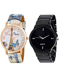 Satva-The Brand Paris Printed Leather Strap Watch For Women. Black Metal Strap Watch For Men. Combo Of 2