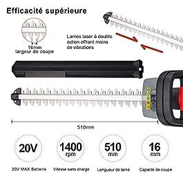 TEENO Taille-haie sans Fil à 20V 2.0Ah Batterie au Lithium, 510mm Longueur et 16mm dégagement de Lame, Lame Laser Double Action, Triple Bouton de démarrage de sécurité