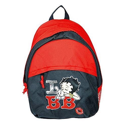 Target Betty Boop I Love BB Mädchen Schul Kinder-Rucksack, Rot/Grau/Weiß
