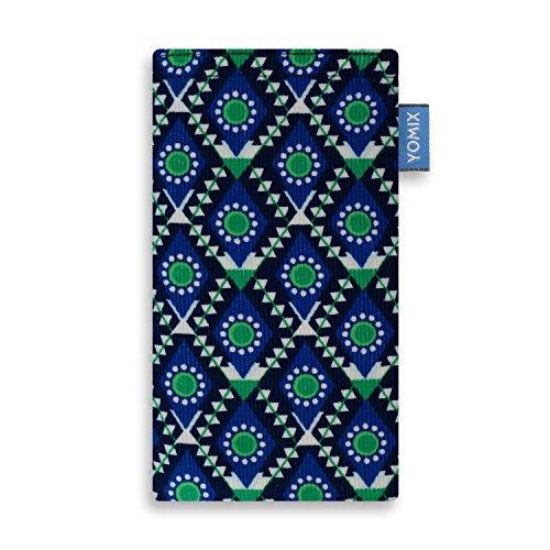 YOMIX Handytasche | Tasche | Hülle STELLA für Apple iPhone 8 aus Cordstoff mit genialer Display-Reinigungsfunktion durch Microfaserinnenfutter MAJA blau