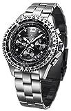 FIREFOX FIGHTER FFS05-102 sunray schwarz Chronograph Herrenuhr Armbanduhr massiv Edelstahl Sicherheitsfaltschließe 10 ATM Prüfdruck