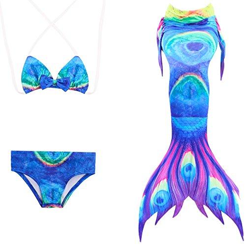 en Meerjungfrauen Bikini Set Schwimmanzug Badeanzüge Bademode Prinzessin Kostüm Meerjungfrauenschwanz für Schwimmen Kinder 5-14 Jahre Farbewahl (130cm (9-10 Jahre), Bra-style-4) (Vier Mädchen Kostüme)