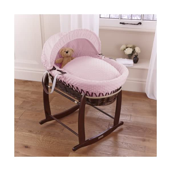 Dimple Dark Wicker Moses Basket - Pink Clair de Lune Super soft, dot Dimple Moses dressings are super soft next to your baby's skin. Comes complete with two carry handles, adjustable hood, 2.0 tog coverlet & mattress. The chic white Moses basket is made using sturdy, lightweight wicker. 2