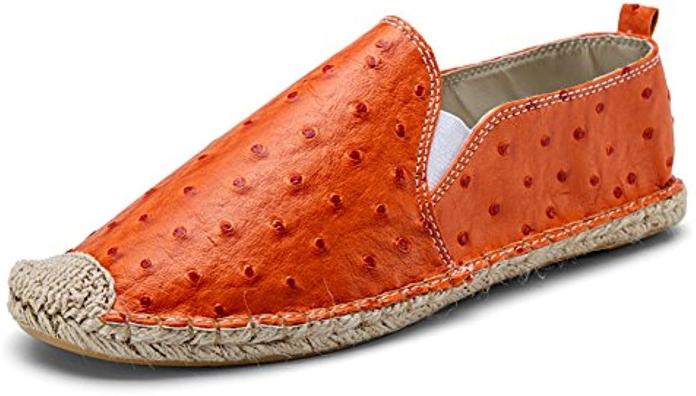 Cuero Zapatillas Casuales para Hombre Elegante Zapatos Planos Naranja  -