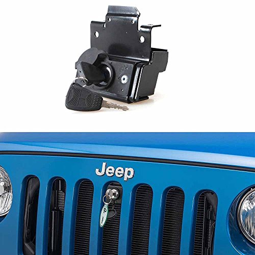 Hood-Lock-Anti-Theft-Kit-Assembly-For-2007-2018-Jeep-Wrangler-JK-Unlimited-2-Door-4-Door-Anti-Theft-Alarm-System