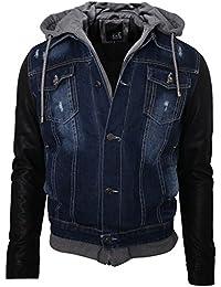 Newfacelook Pour Des Hommes Toile De Jean Denim Encapuchonné Stonewash Désinvolte Fausse Fourrure Doublure Veste Jacket