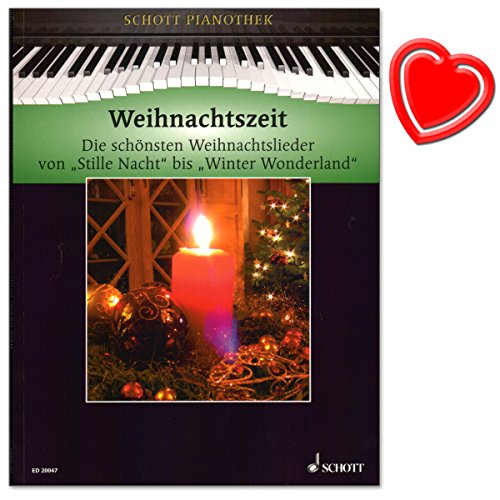 Weihnachtszeit - Pianothek Heumann - Die schönsten Weihnachtslieder von Stille Nacht bis Winter Wonderland für Klavier - mit bunter herzförmiger Notenklammer