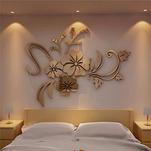 ... 3D Wandtattoo, Kavitoz Acryl Wandaufkleber Wandsticker Für Home Decor  Schlafzimmer Wohnzimmer Wanddekoration (Gold) ...