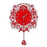 Horloge murale de style chinois Horloge de quartz créative Horloge d 'horloge silencieuse Horloge décorative simple pendulaire