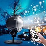 Schneeflocke Projektionslampe, Zenoplige LED Schneeflocke Projektor Lampe Licht Romantische Dekoration mit Fernbedienung Wasserdicht Schneefall-Lichteffekt für Weihnachten Party Festival Innen Außen