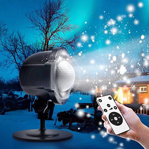 LED Projektor, Zenoplige Schneeflocke Projektionslampe Lampe Licht Romantische Dekoration mit Fernbedienung Wasserdicht Schneefall-Lichteffekt für Weihnachten Party Festival Innen Außen (Schneeflocke)